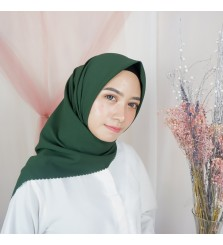 Hijab Segi 4 Lasercut Diamond Cloud Dark Green
