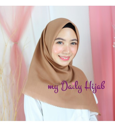 Hijab Segi 4 Lasercut Poly Voal Cloud Rosy Brown