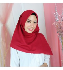 Hijab Segi 4 Lasercut Voal Poly Cloud Red Violet
