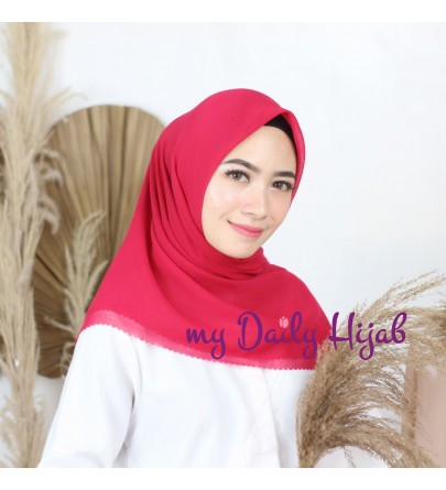 Hijab Segi 4 Lasercut Voal Superfine Red Violet